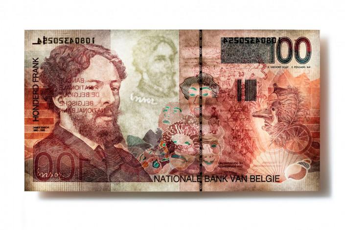 SK_BELGIEN_V04 - Geldschein ist ein Kunst Retusche Projekt der Schalterhalle Postproduktion und Tobias Winkler - Bildbearbeitung München.